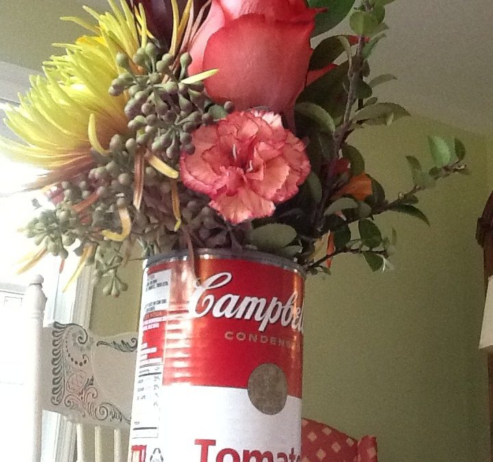 Campbell Soup Flower Arrangement for Thanksgiving